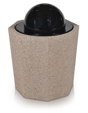 Model TCR-OCT | Octagon Concrete Trash Receptacle with Dome Top Lid