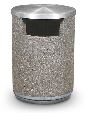 Model TCRCA-SO | 36 Gallon Concrete Trash Receptacle with Side Opening and Spun Aluminum Lid