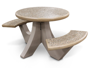 Model TF311012 | Polished Terrazzo Round Concrete Picnic Table with Two Seats (Buff)