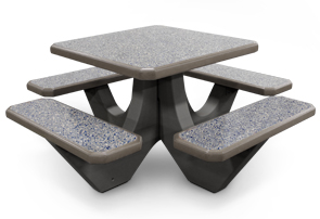 Model TF312012-CUS3 | Square Concrete Commercial Picnic Table (Gray Matrix)