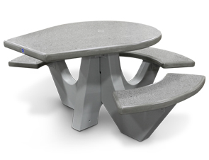 Model TF312812 | Polished Terrazzo Round Concrete Wheelchair Accessible Picnic Table (Misty Gray/Gray)