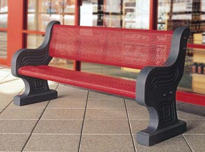 Model TF5022 | Metal-Armor 6' Bench with Concrete Frame (French Gray/Red)