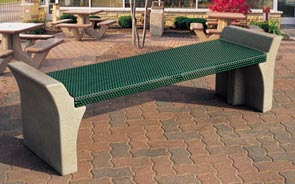 Model TF5023 | Metal-Armor 6' Bench with Concrete Frame, Backless (Buff/Green)