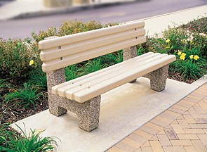 Model TF5050 | Precast Concrete Park Bench (Gray Matrix)