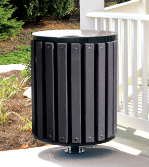 Model TR3 | 34 Gallon Recycled Plastic Trash Can (Black)