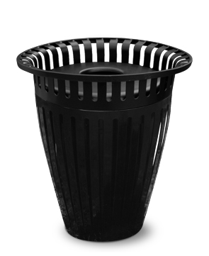 Model TR32 | 32 Gallon Thermoplastic Coated Ribbed Steel Trash Receptacle with Crown Top (Black)