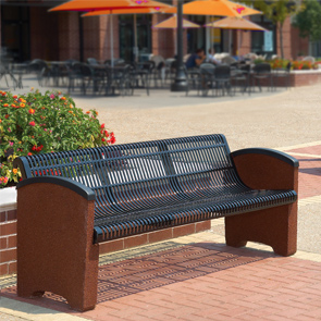 Model TSSCBEN6 | Thermoplastic and Aggregate Park Bench (Black Perforated Metal/Alpine Red Aggregate)
