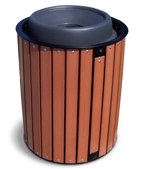 Model TTR-R | Recycled Plastic Trash Receptacle with Dome Top | 32 Gal.