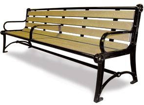 Model TZ8R | Recycled Plastic Park Benches | Terraza Style (Sand/Black)