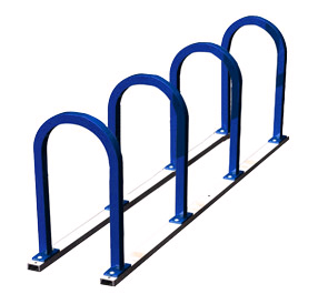 Model U200-8-P | Square 'U' Racks on Rails Bike Rack (Midnight Blue)