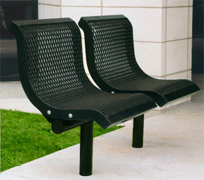 Model U2WBS-I | Thermoplastic Coated Downtown Style Straight Benches (Black)