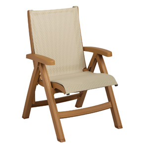 Model US352008 | Belize Midback Folding Sling Chair (Khaki Sling/Teakwood  Frame)