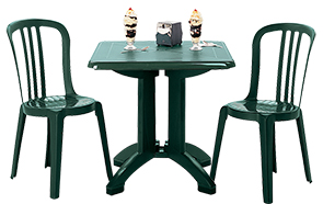 "Model US810078 & Model US810078 | Vega 32"" Square Folding Table with Umbrella Hole and Miami Bistro Chairs (Amazon Green)"