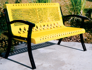 Model VC4WB-P | Thermoplastic Coated Steel Park Bench (Yellow/Black)