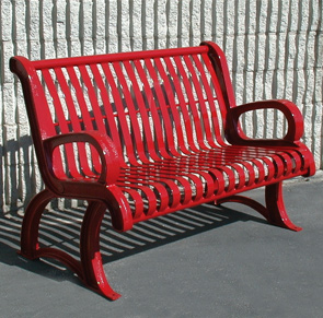 Model VP4 | Vintage Outdoor Benches | Premier Style (Red)