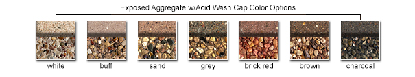 Exposed Aggregate w/Acid Wash Cap Color Options