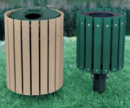 Extended Slat Recycled Plastic Receptacles Permanent Mount