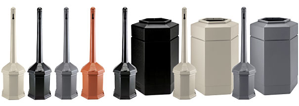 Site Saver™ Cigarette Receptacle and Hex Waste Container Combo