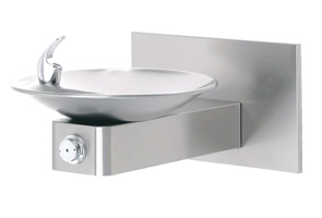 Haws 1001 Wall Mounted Drinking Fountain with Satin Stainless Steel Bowl on Square Arm and Back Panel ADA Accessible