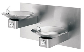 Haws 1011 HiLo ADA Drinking Fountain with Two Satin Stainless Steel Bowls on Square Arms and Back Panel