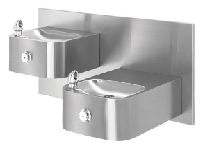 Haws 1119 Wall Mount Hi-Lo 18 Gauge Stainless Steel ADA Drinking Fountain with Back Panel