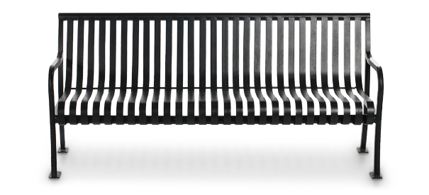 Aspen 6ft steel slat bench metal park benches for Metal benches for outdoors