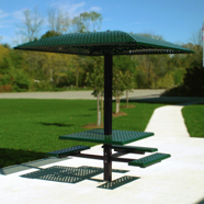 Square Pedestal Picnic Table with Sun Shelter