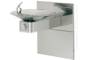 Model 1001HPSMS & Model MTGFR.DF1 | Stainless Steel Drinking Fountain with Round Sculpted Bowl | Steel In-Wall Mounting Frame