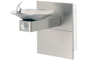 Model 1001MS | Wall Mounted ADA Drinking Fountain with Satin Stainless Steel Bowl on Square Arm and ADA Access Panels