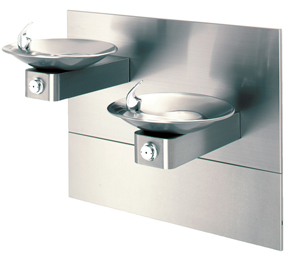 Model 1011MS | HiLo ADA Drinking Fountain with Two Satin Stainless Steel Bowls on Square Arms and Back Panel