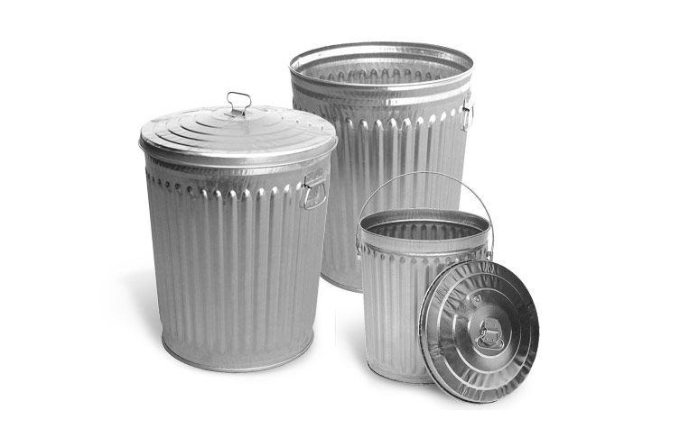 Galvanized Outdoor Trash Cans Metal