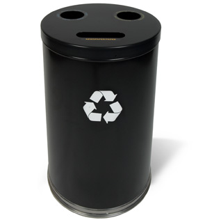Model 18T-3H | 3 in One Recycling Receptacles (Black)