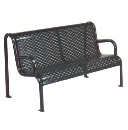 Model 1H4CSS | Perforated Steel Bench with Tubular Frame (Black)