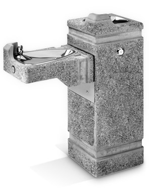 Model 3150-CC | Concrete Square Pedestal Drinking Fountain with Dual Height Bowls