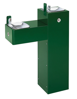 Model 3300FR | Outdoor Dual Height Square Pedestal ADA Drinking Fountain with Stainless Steel Bowls Freeze Resistant