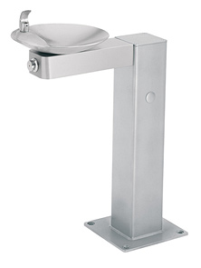 Model 3377G | Drinking Fountain | Galvanized Pedastal | Satin Stainless Bowl and Arm