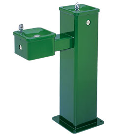 Model 3500 | Outdoor Drinking Fountain | Square Pedestal | Dual Height