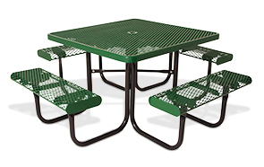 Model 358-VR | Classic Style Square Steel Picnic Table Diamond Pattern with Rolled Edges