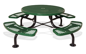 Model 369SM-RDV | Classic Style Round Span Leg Table with Diamond Pattern Steel