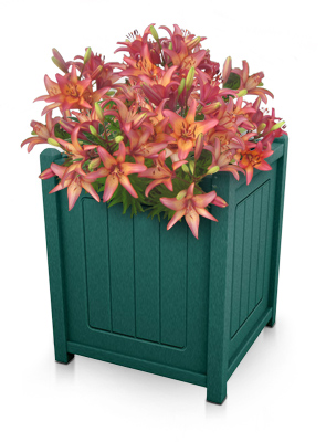 Model 5-PBCS | Recycled Plastic Decorative Panel Single Planter (Green)