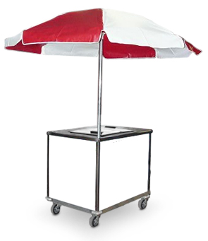 Model 800M | Push Ice Cream Cart on Casters with Umbrella
