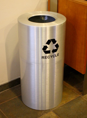 Model AL18-CLR-R | Indoor Aluminum Recycling Can (Satin Clear Coat)