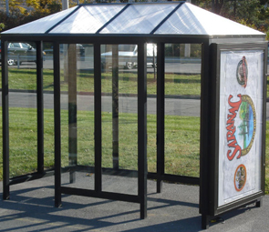 Model ALS510A2PHN | Poly Hip Roof Bus Shelter (Quaker Bronze)