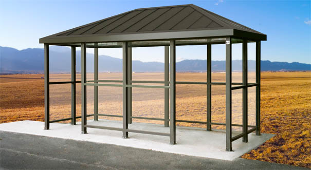 Model ALS612A0H | Hip Roof Bus Shelter with Double Opening (Quaker Bronze)