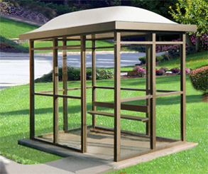 Model ALS68A1D-8BA | Bus Shelter | Dome Top | Single Opening (Quaker Bronze)
