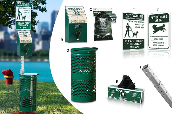DOGIPOT® Pet Waste Station with Aluminum Trash Receptacle Collection