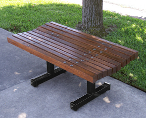 Model BB-4-W | 4' Boulevard Wood Bench | Backless (White Oak/Black)