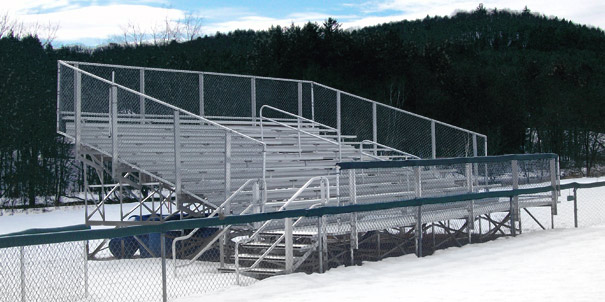 Model BEL-015 | 10 Row Aluminum Elevated Bleacher with Double Footboards