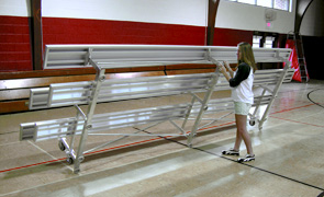 Model BLU-110 | 3 Row Standard Aluminum Bleacher with Tip and Roll Kit