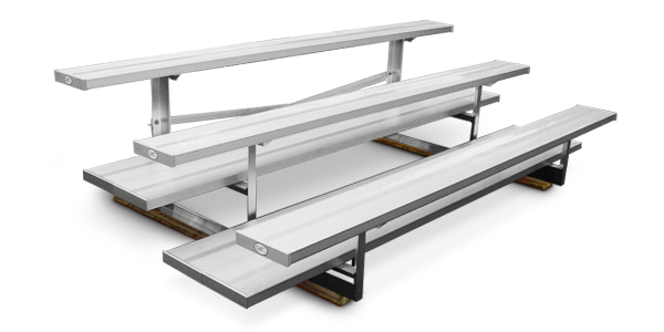 Model BNR-133 | 3 Row Quality Bleacher | Double Footboard with Mud Sills